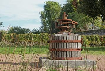 pressoir devant une vigne