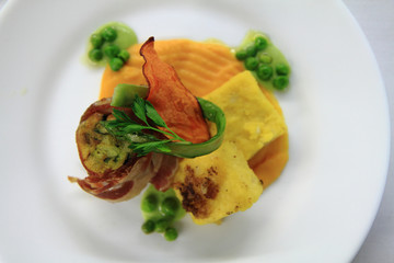 bacon roll with spring vegetable