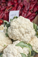 Fresh cauliflower for sale in a grocery
