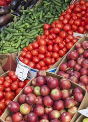 Fresh vegetables and fruits for sale in a market