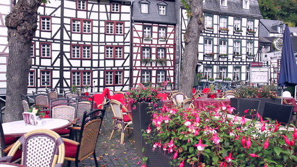Market square in a small German town Monschau.