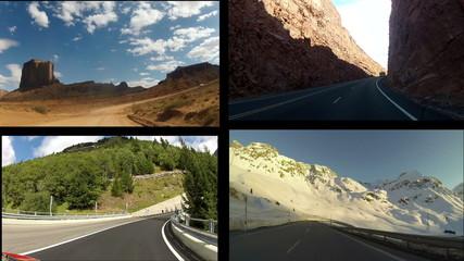 Car driving on different roads, Splitscreen