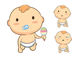 Baby crawling front side so cute in cartoon version.