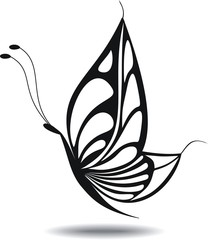 Butterfly silhouette Isolated. Tatoo