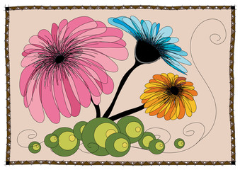 Abstract flowers drawing