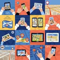 Set of 16 icons GPS Navigation.