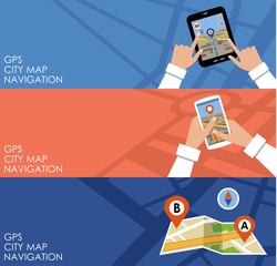 Three banners with GPS. Navigation.