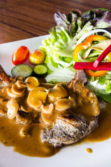 Beef steak with mushroom sauce