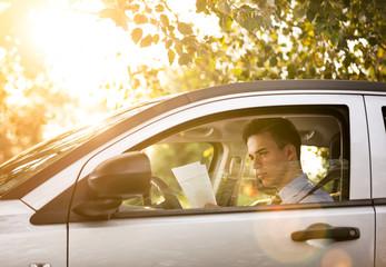 Successful businessman in the car
