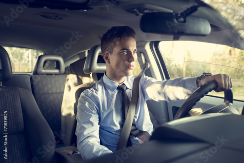 canvas print picture positive man in car outdoor
