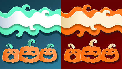Illustration of paper smiling pumpkins