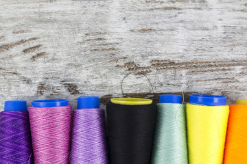 Colorful sewing coils background