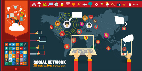 Social Network Vector Concept with icons.