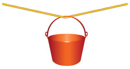 Red plastic bucket on a rope