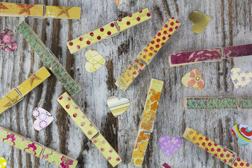 Handmade clothespins and hearts