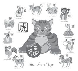 Chinese New Year Tiger with Twelve Zodiacs Illustration
