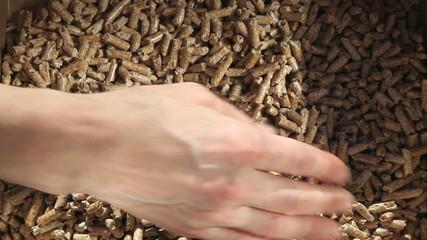 granulés de bois pour chauffage avec main
