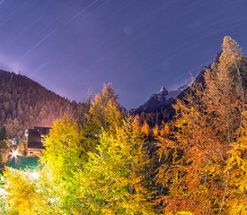 Dombai. Night city between the rockies in Caucasus region