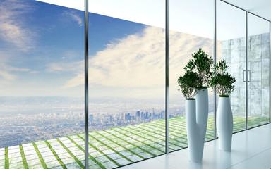 Design flower pots against huge window