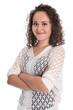 canvas print picture - Junge freigestellte Frau mit Naturlocken