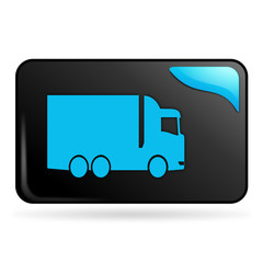 camion sur bouton web rectangle bleu