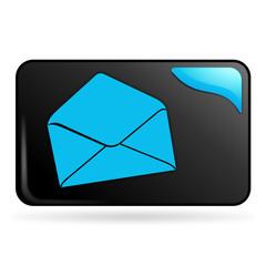 courrier sur bouton web rectangle bleu