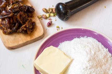 Chopped dates for sweets. ingredients