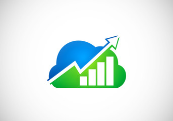 cloud finance graph arrow vector logo