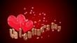 cuori su sfondo rosso per San Valentino con testo