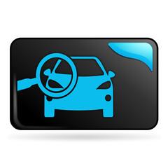 points de contrôle automobile sur bouton web rectangle bleu