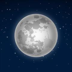 Big full moon. Vector