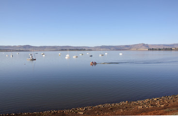 Inflatable Boat on Water of Midmar Dam