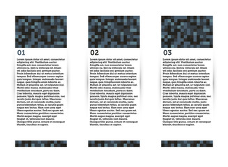 A vector set of three layout tabs with a pixel art style