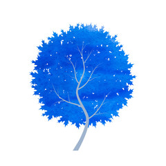 abstract blue winter tree