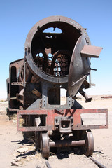 Rusty old train at Train Cemetery in Uyuni, Bolivia