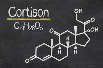 Schiefertafel mit der chemischen Formel von Cortison
