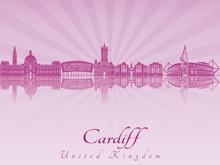 Cardiff skyline in purple radiant orchid
