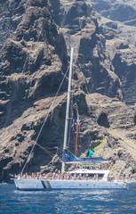 Catamaran floating near Los Gigantes, Tenerife