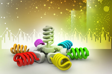 3d illustration of colorful light bulbs