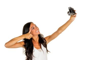 Frau macht selfi