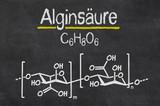 Schiefertafel mit der chemischen Formel von Alginsäure poster
