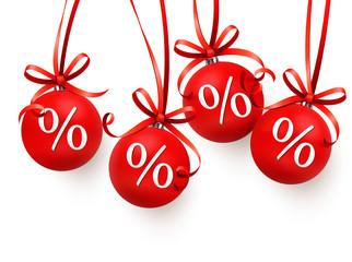 Weihnachtskugeln mit Prozentzeichen