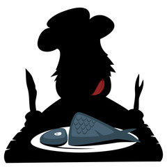 Silhouette of a hungry prehistoric chef
