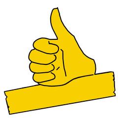 tus30 ThumbUpSign tus-v4 Daumen hoch - minus10grad - gelb g2130
