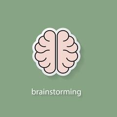 Flat style brain vector icon