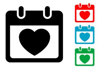 Pictograma calendario con dia de san valentin con varios colores