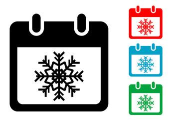 Pictograma calendario con simbolo invierno con varios colores
