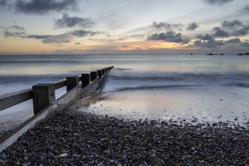 seascape with sunrise in Swanage bay