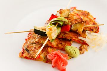 vegetable kebab with japanese omelette