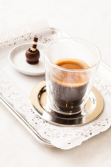 espresso with chocolate sweet